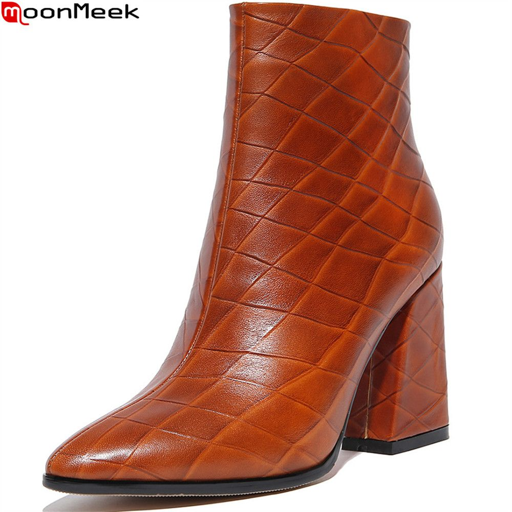 MoonMeek fashion new women boots pointed toe zipper genuine leather boots  square heel cow leather ankle e1fc656a47ef