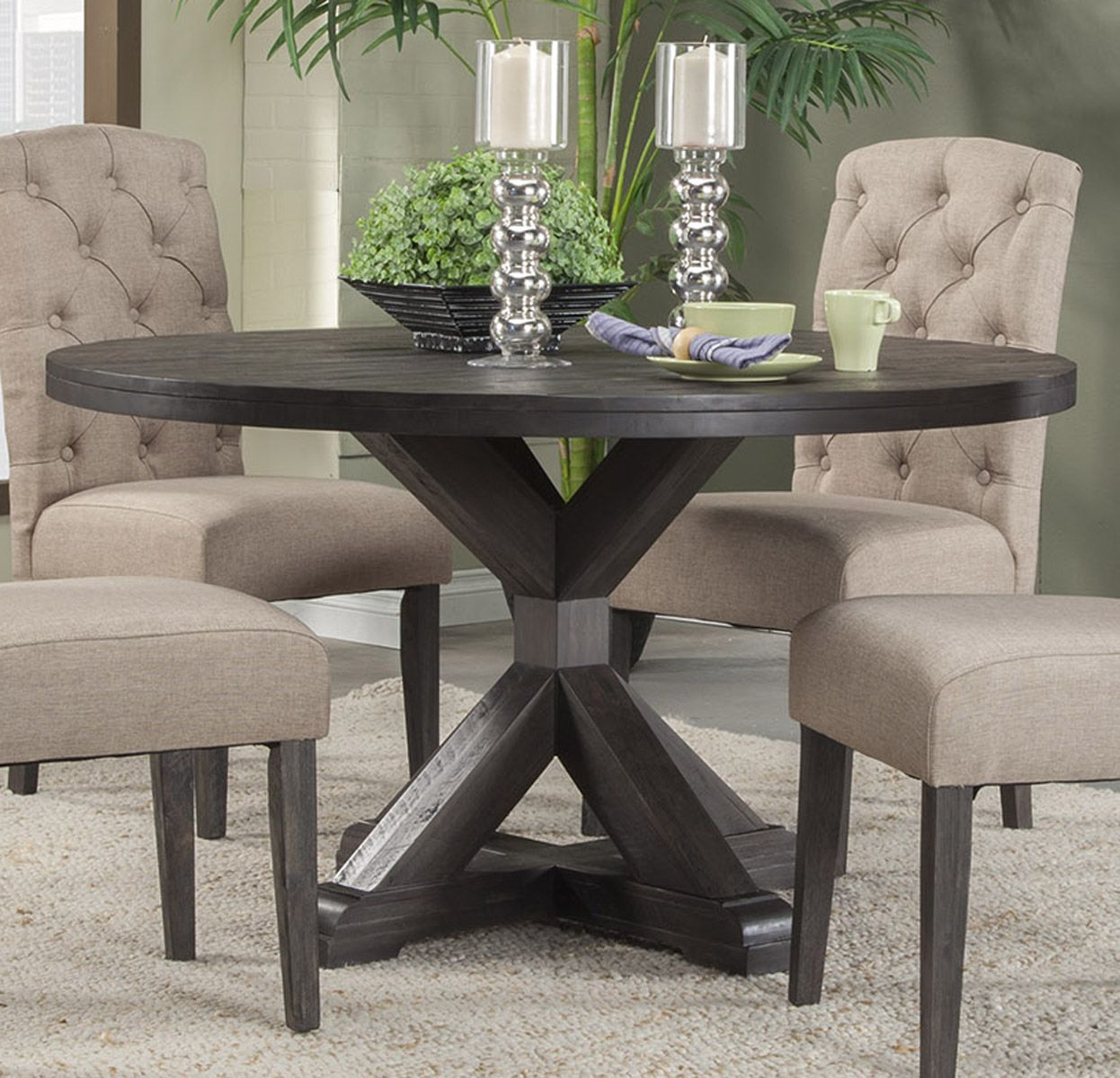Alpine Furniture Newberry Round Dining Table In Salvaged Grey 1468 25 By Dining Rooms Outlet Round Dining Room Table Round Dining Room Sets Round Dining Room