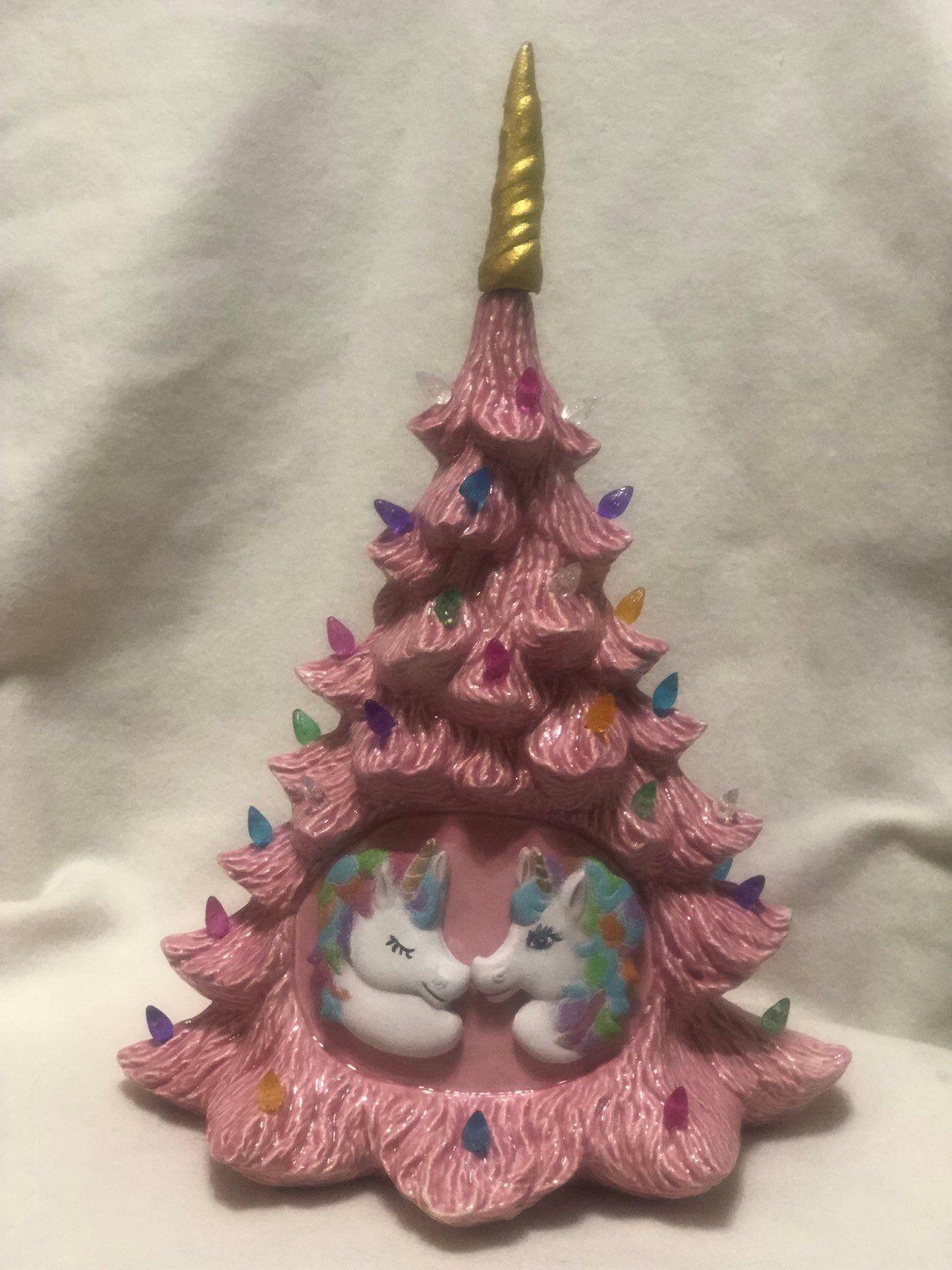 Unicorn Christmas Tree Etsy In 2020 Christmas Tree Shop Ceramic Christmas Trees Slim Christmas Tree