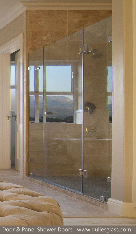 This Door Panel Shower Enclosure Features Premium Hdglass A Swinging Door And Two Fixed Panels Make Up The Show Shower Doors Glass Shower Glass Shower Doors