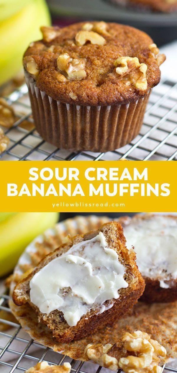 Sour Cream Banana Muffins Yellowblissroad Com Recipe In 2020 Sour Cream Banana Muffins Sour Cream Recipes Sour Cream Banana Bread