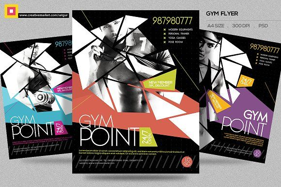 Fitness Flyer \/ Gym Flyer V9 by Satgur Design Studio on - fitness flyer