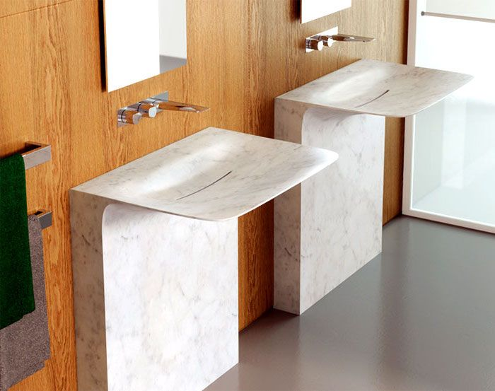 bad einrichten, waschbecken aus marmor mit modernem design - badezimmer design badgestaltung