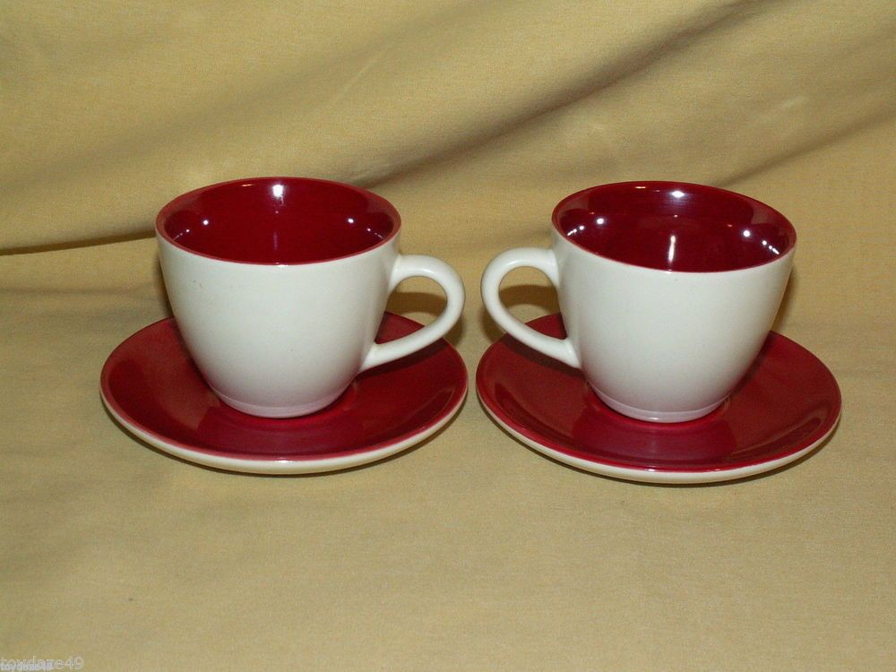 Starbucks Demi Demite 2 Cups Saucers Red White Pearlescent Set 192162 3 Oz Mugscoffee