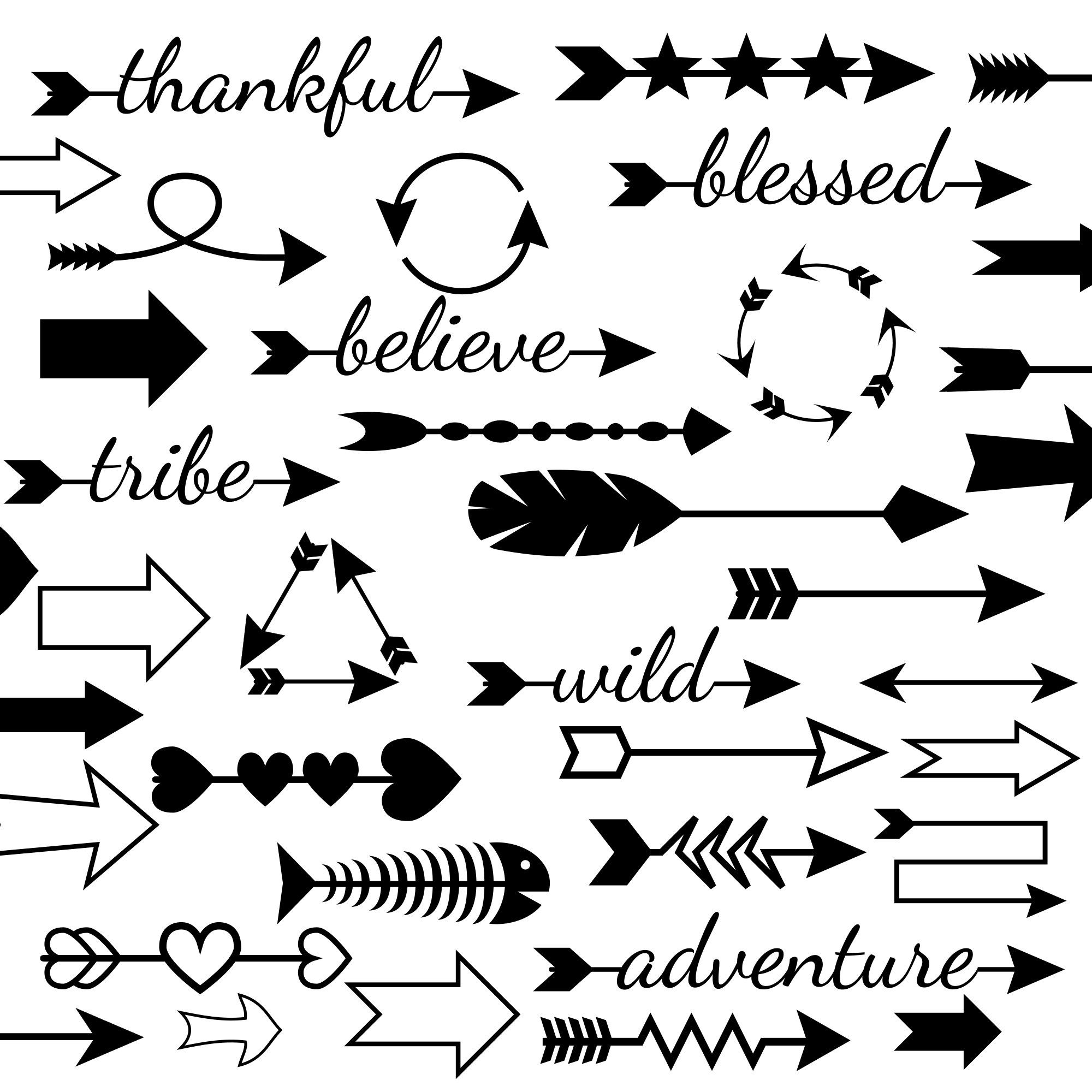 50 Arrows Svg Files For Cricut And Silhouette Arrow