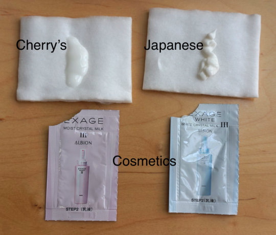 Comparing Albion Exage Moist/ White Crystal Milk 3 - Cherry's Japanese Cosmetics