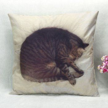 Share Get It Free High Quality Sleeping Cat Pattern Square Shape Pillow Case Without Pillow Inner For Fashion Lovers O Cat Pillowcase Pillows Throw Pillows