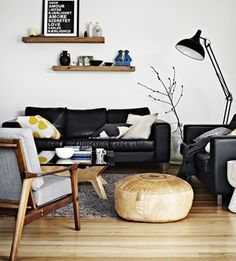 Pin By Suzanne Davis On Daylesford Ideas Black Sofa Living Room Leather Couches Living Room Home Decor