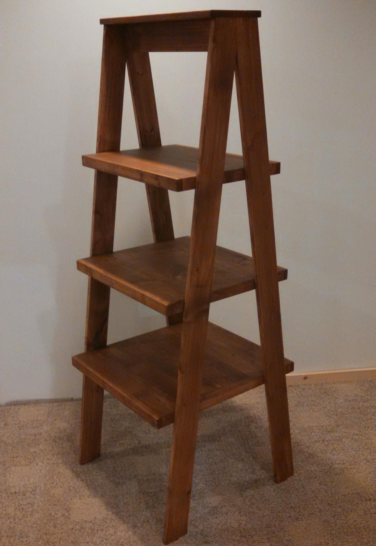 rustic wood ladder style shelving shelf display retail store product