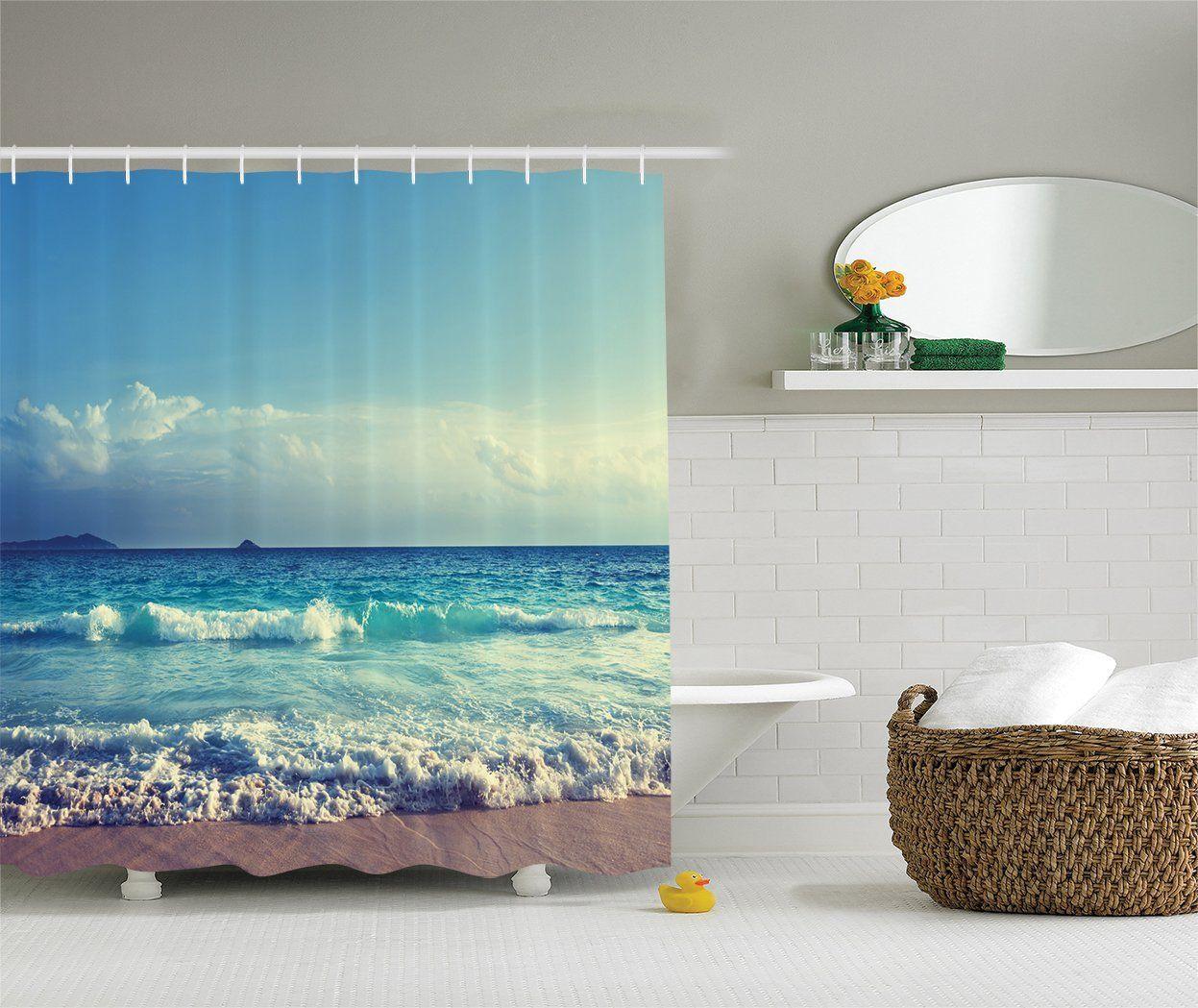 Ambesonne Bright Ocean Day Shower Curtain Beach Shower Curtains