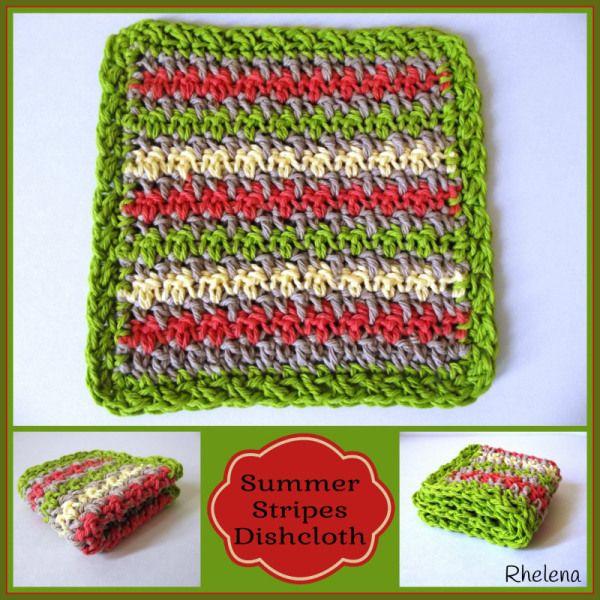 Summer Stripes Dishcloth ~ FREE Crochet Pattern | Crear, Tejido y Coser