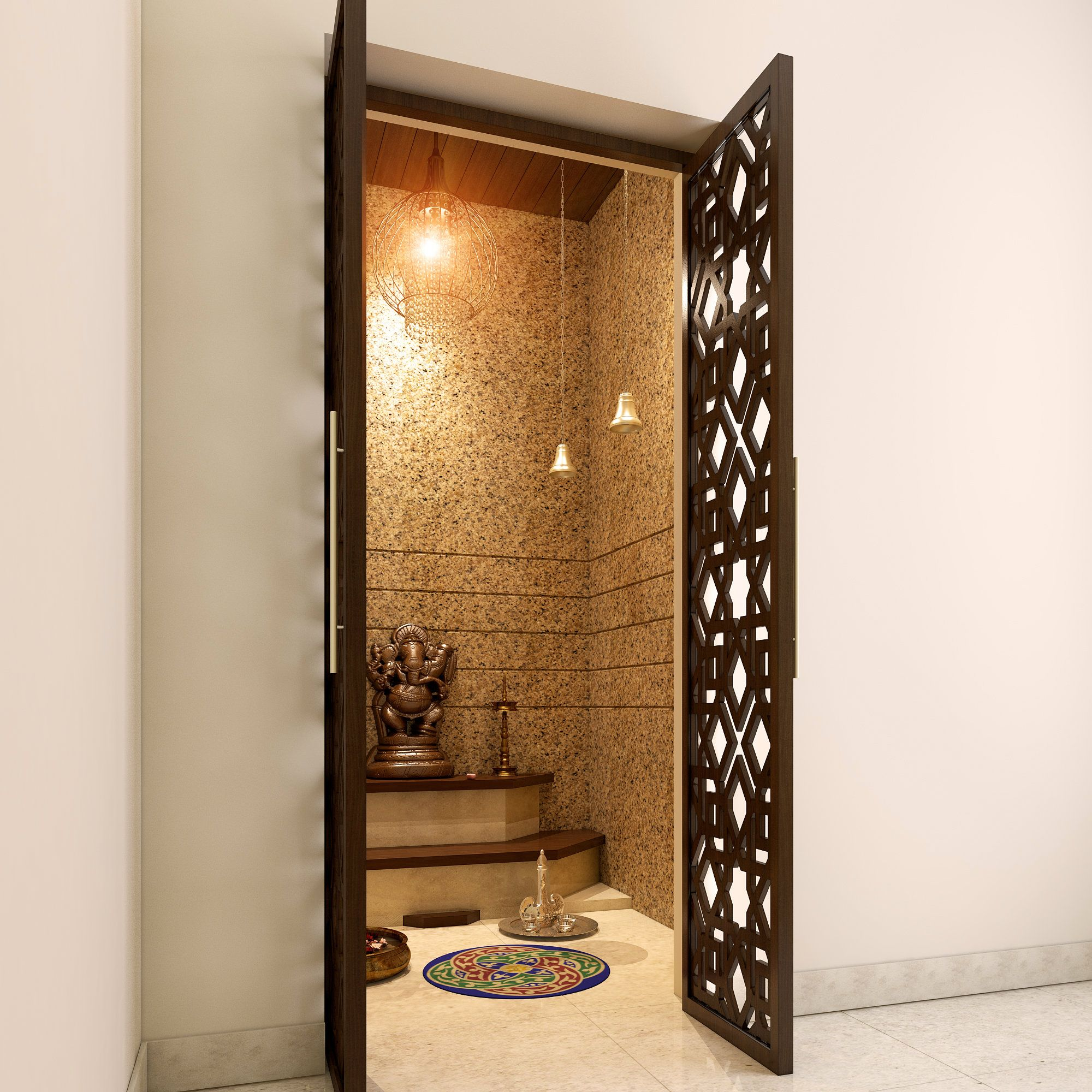 e3872ea21c8 home mandir design decoration. Lattice doors that make your pooja room look  more attractive.