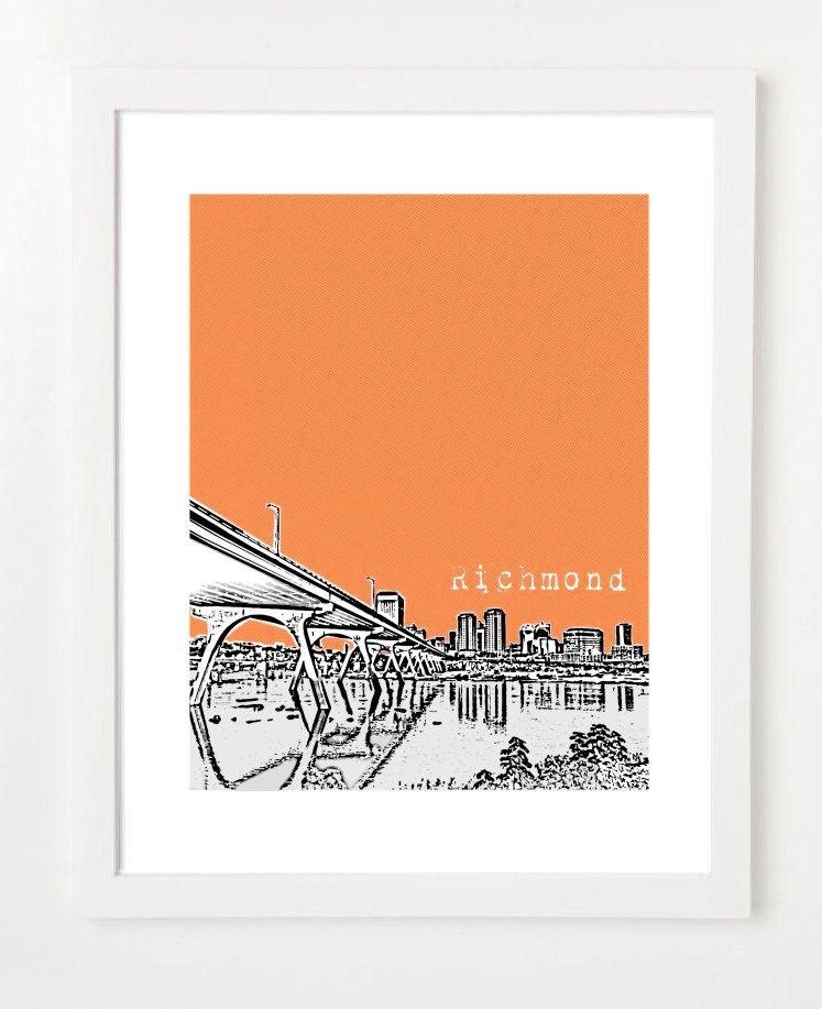 Richmond Virginia Poster - City State Skyline Art Print -Version 1. $20.00, via Etsy.