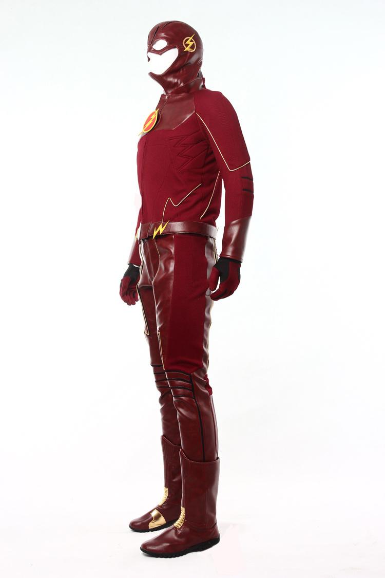 Movie Flash Cosplay Costume Superhero Flash Leather Suit
