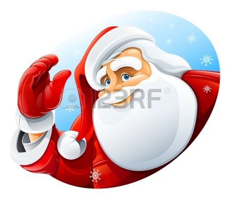 happy Santa Claus face greeting vector illustration isolated on white background Stock Vector