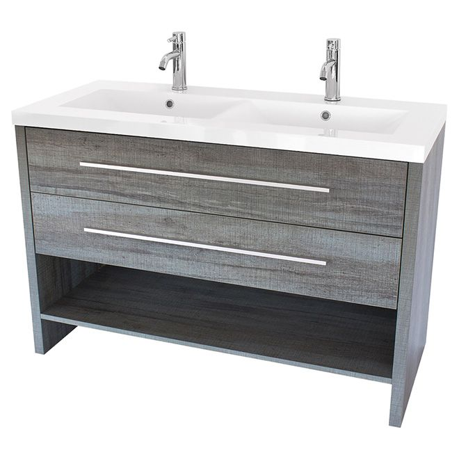 Meuble à 2 lavabos, 2 tiroirs/1 tablette, 48 1/2\ - salle de bain en bleu