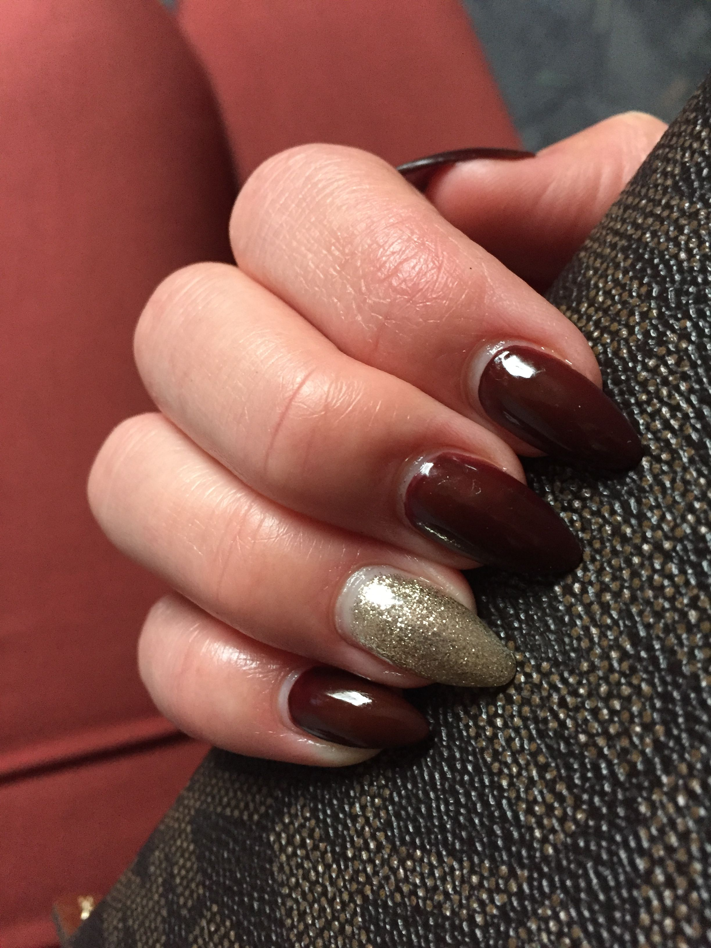 geln gel gelnails rot red spitz longnails glitzer gold dunkel herbst nails in 2018. Black Bedroom Furniture Sets. Home Design Ideas