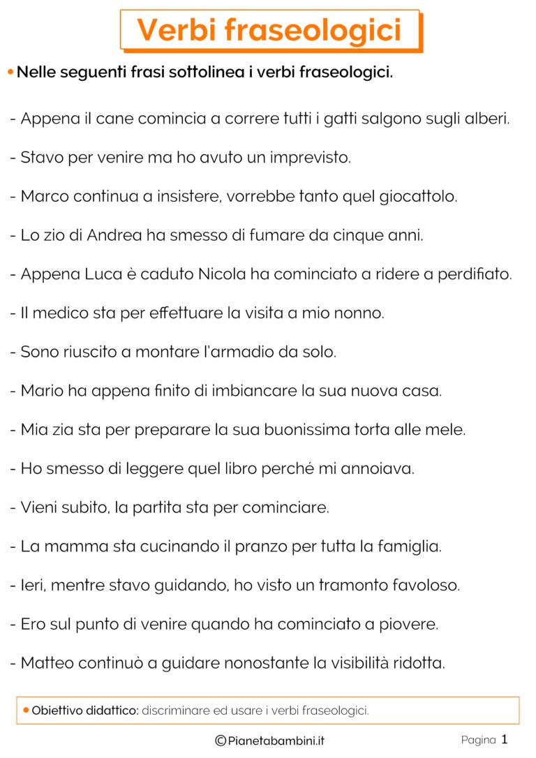 Verbi Fraseologici Esercizi Per La Scuola Primaria Italiano