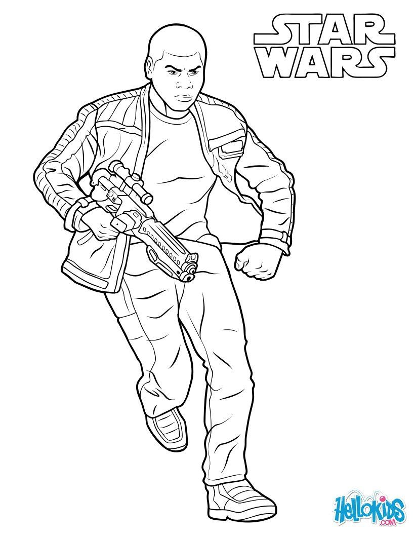Finn Coloring Page From The New Star Wars Movie The Force Awakens