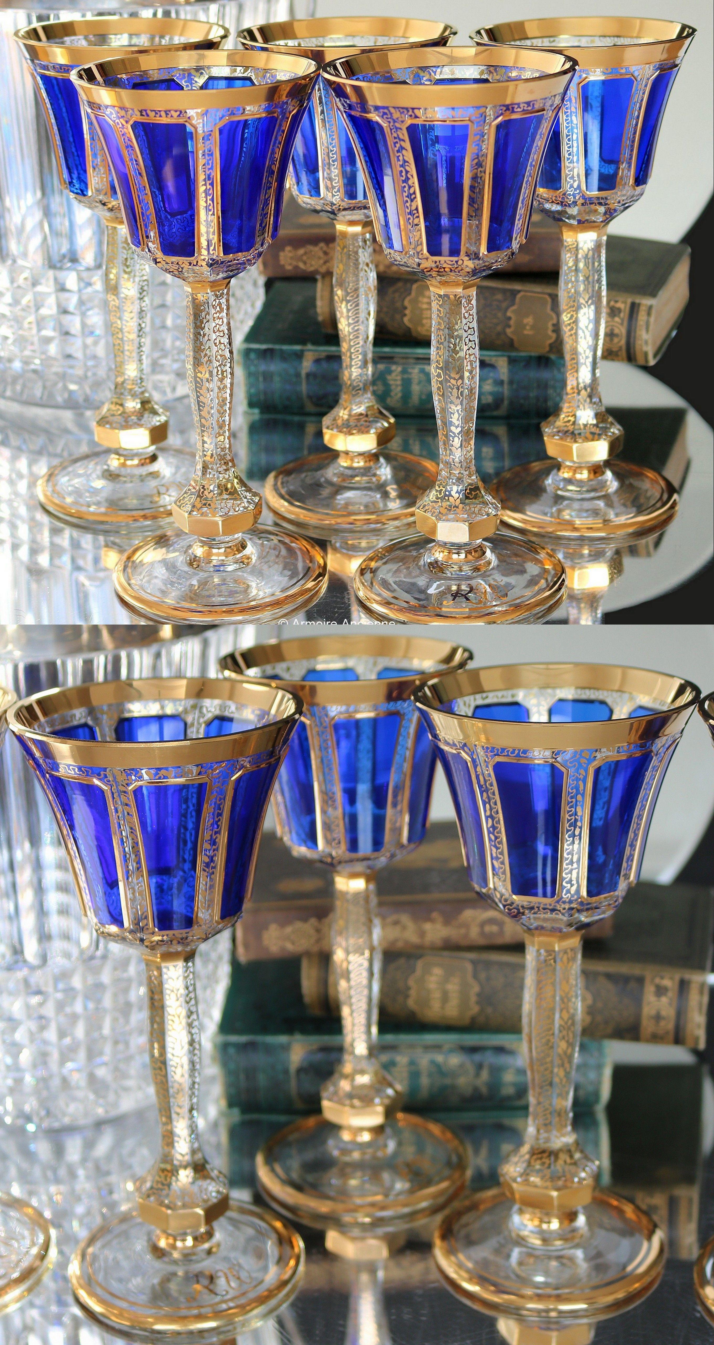5x Large Crystal Wine Glasses Cobalt Blue Overlay 24k Gold Rim And Ornaments Steiner Vogel 1930s In 2021 Crystal Wine Glasses Antique Wine Glass Crystal Glassware