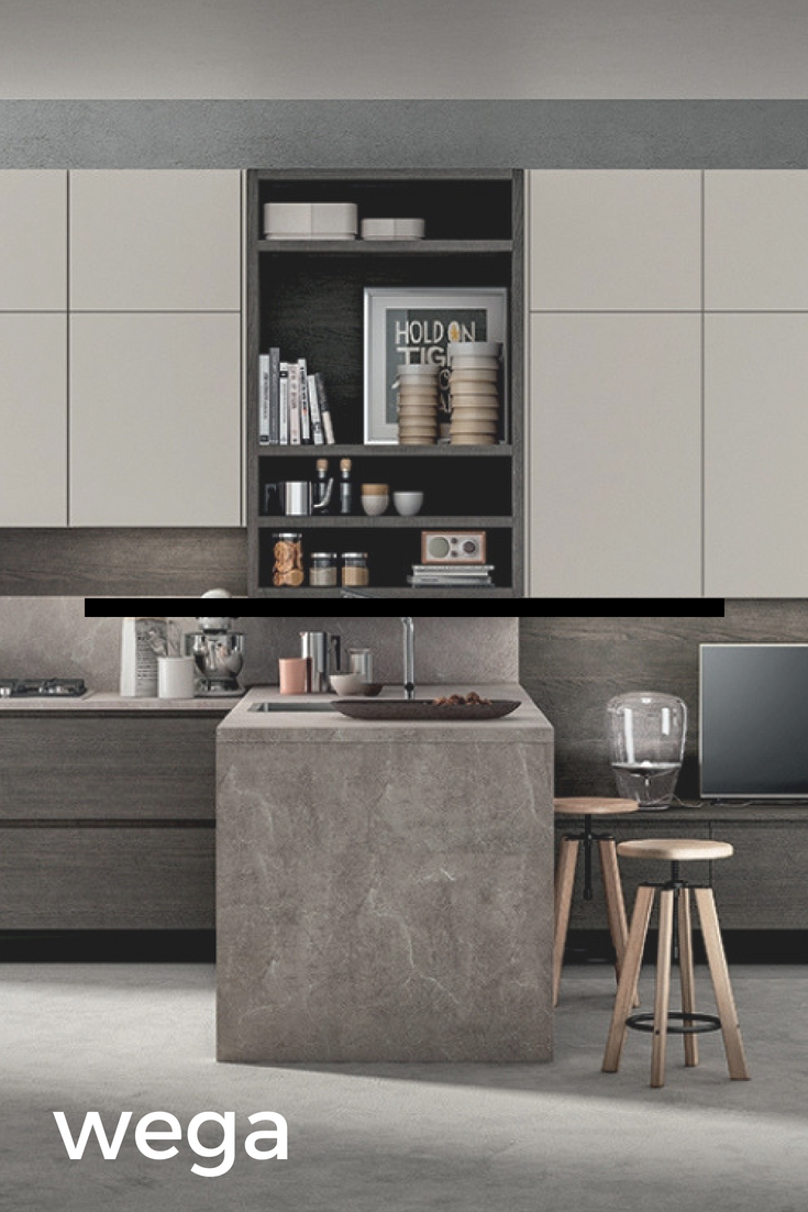 Wega 01 - Cucina moderna, caratterizzata da: Pensili in fango ...