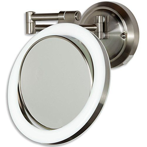 Zadro 10x 1x Dimmable Sunlight Wall Mount Surround Mirror Satin Nickel Lighted Wall Mirror Mirror Wall Magnification Mirror