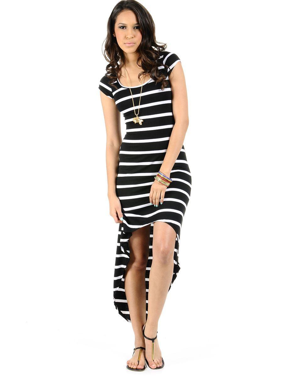 Striped Hi Low T Shirt Dress 1350 Trendy Cheap Casual