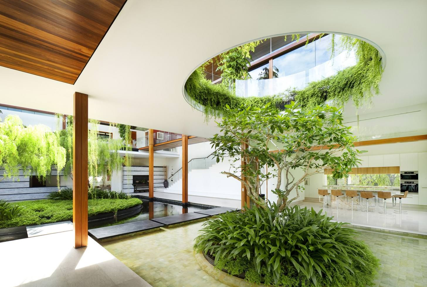 Interlocking Composition Of Buildings Gardens And Ponds In An Open Air Residence In Singapore 2000 1346 Interior Garden Willow House Coral House