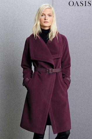 700de9c53daa Buy Oasis Purple Amy Clean Belted Drape Coat from the Next UK online shop