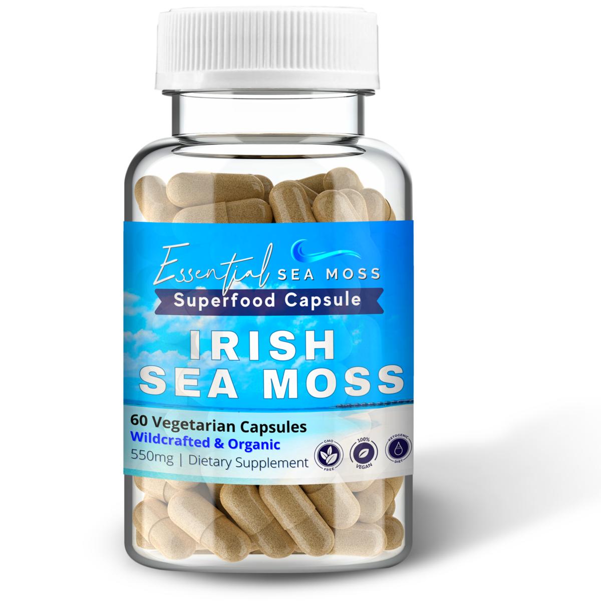 Organic Irish Sea Moss 60 Capsules Essential Sea Moss In 2021 Sea Moss Irish Sea Moss