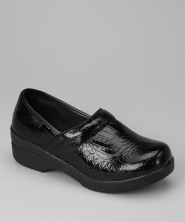 Take a look at this Black Classic Crocodile Patent Clog by COCO Jumbo on #zulily today! she loves these kind of shoes because they are just like her meme's nursing shoes
