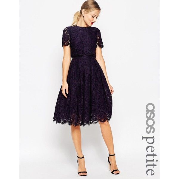 ASOS PETITE SALON Lace Crop Top Midi Prom Dress ($115) ❤ liked on ...