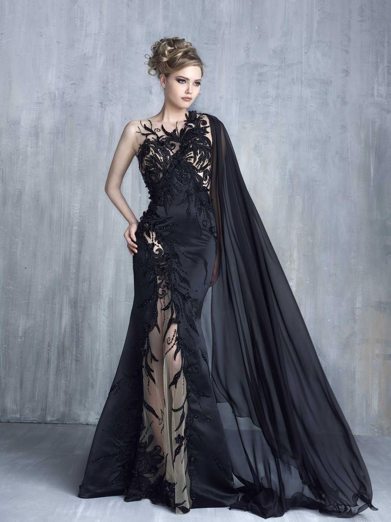 2016 Tony Chaaya Mermaid Evening Dresses Sexy Black Lace Appliques ...