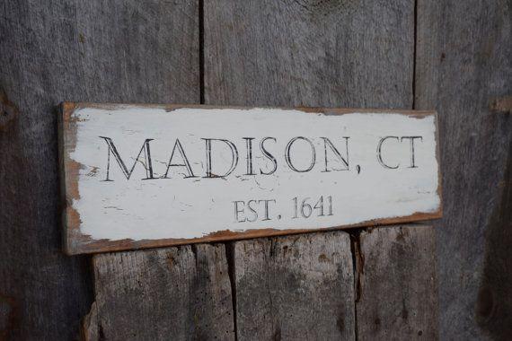 Madison CT Est. 1641 sign on reclaimed barn by BarnWorksStudio
