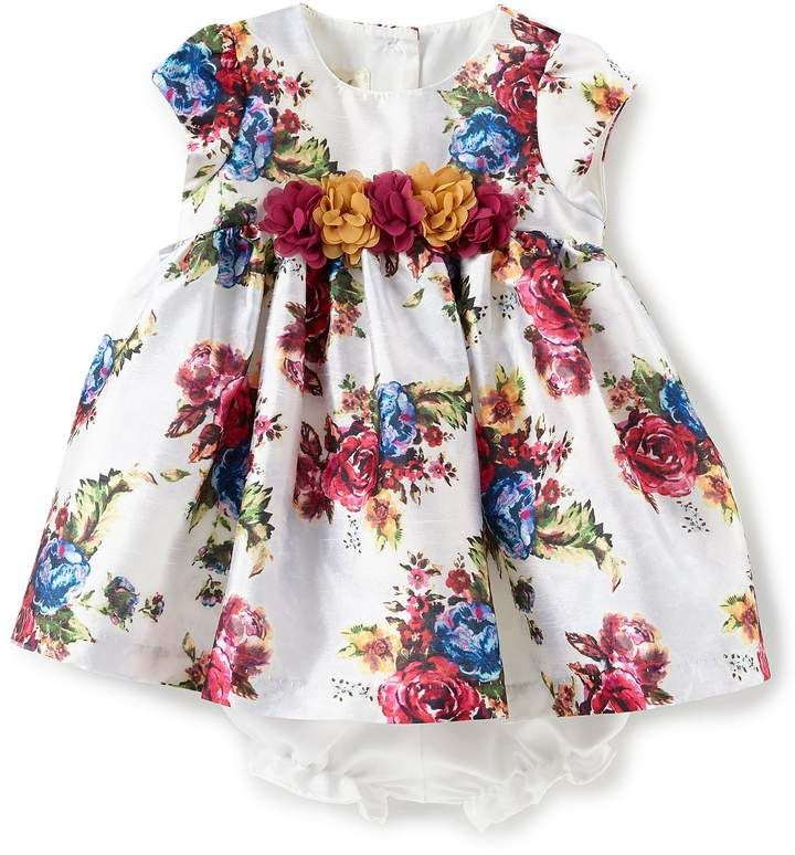 ab60150ac790 Baby Girls Newborn-24 Months Floral-Printed Fit-And-Flare Dress  shantung  printed necklinecap