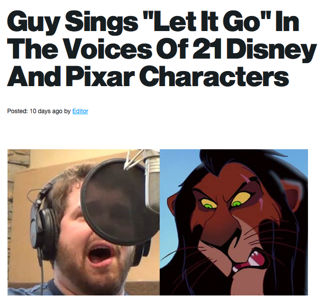 """Guy sings """"Let it Go"""" in Disney characters : Amazing!!!!! I was smiling the whole time."""