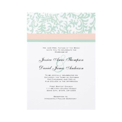 Mint Green And Peach Pink Wedding Invitation Design Features A Pretty Teal Blue Floral Pattern With