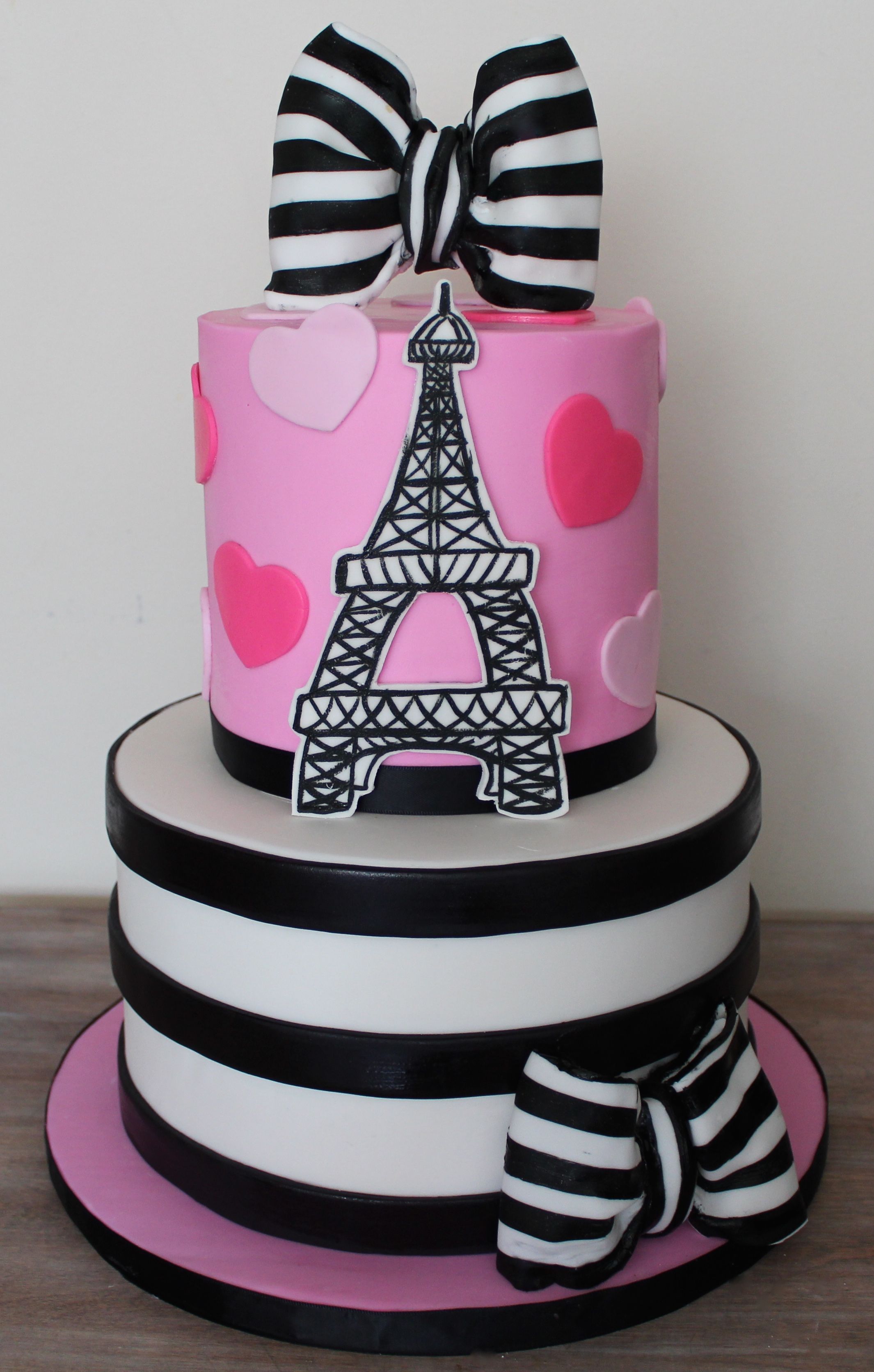 Paris France Cake Black And White Stripes Bows Hearts Love