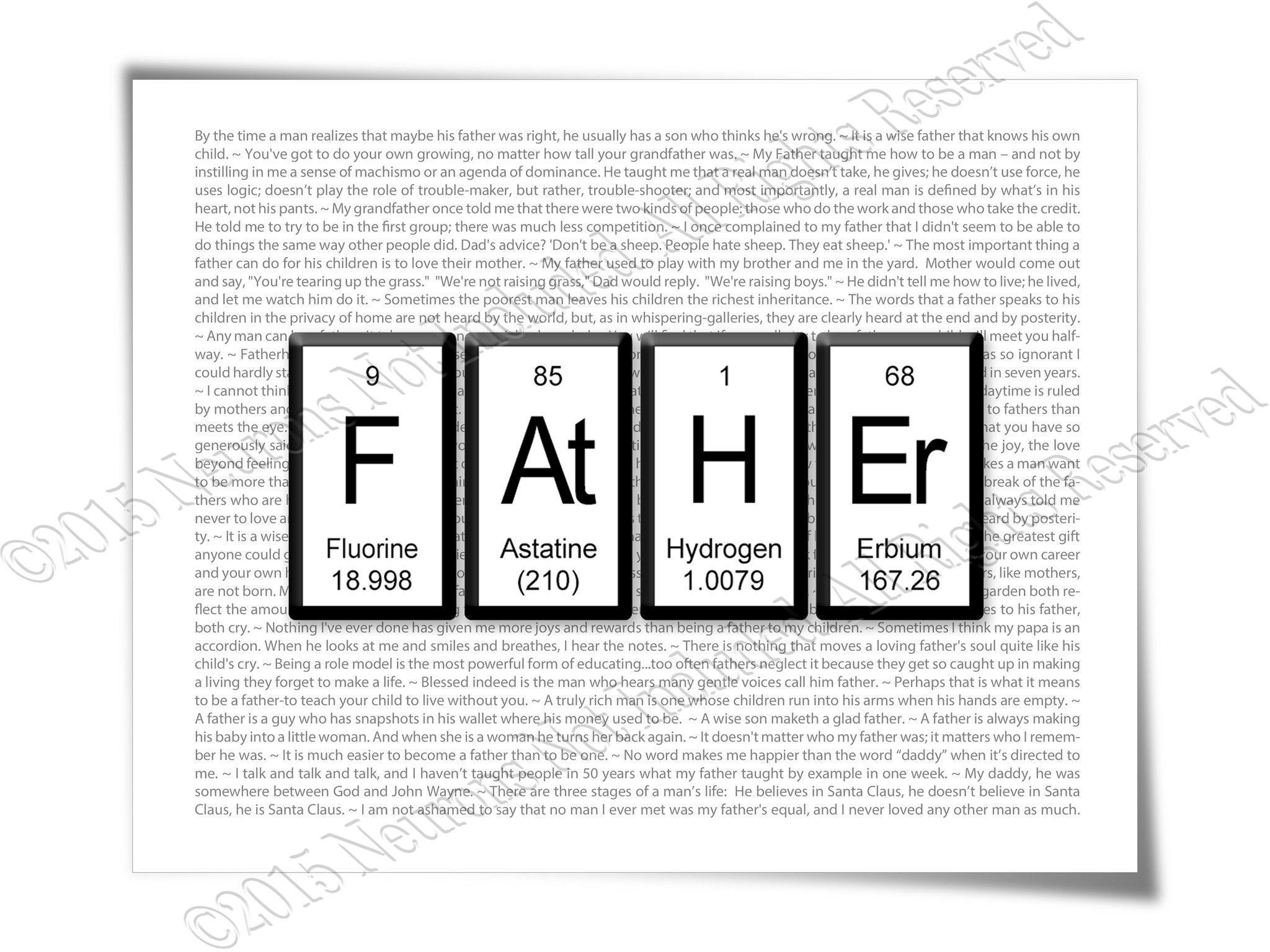 Periodic table father typography art print products pinterest periodic table father typography art print gamestrikefo Choice Image