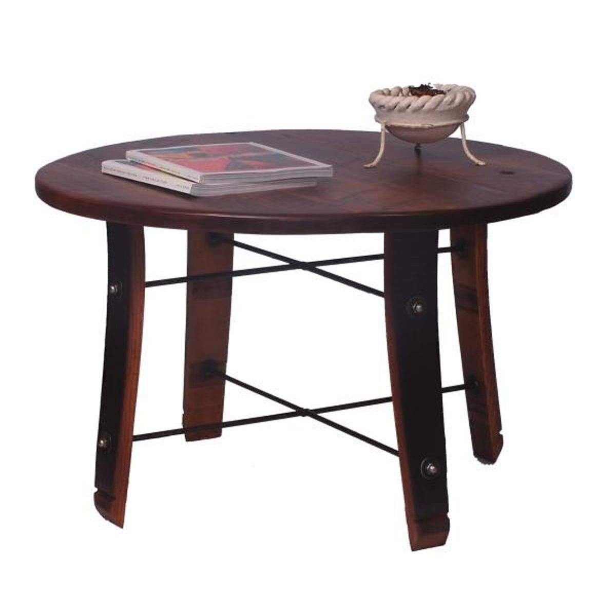 Round stave coffee table reclaimed wine barrel furniture wine