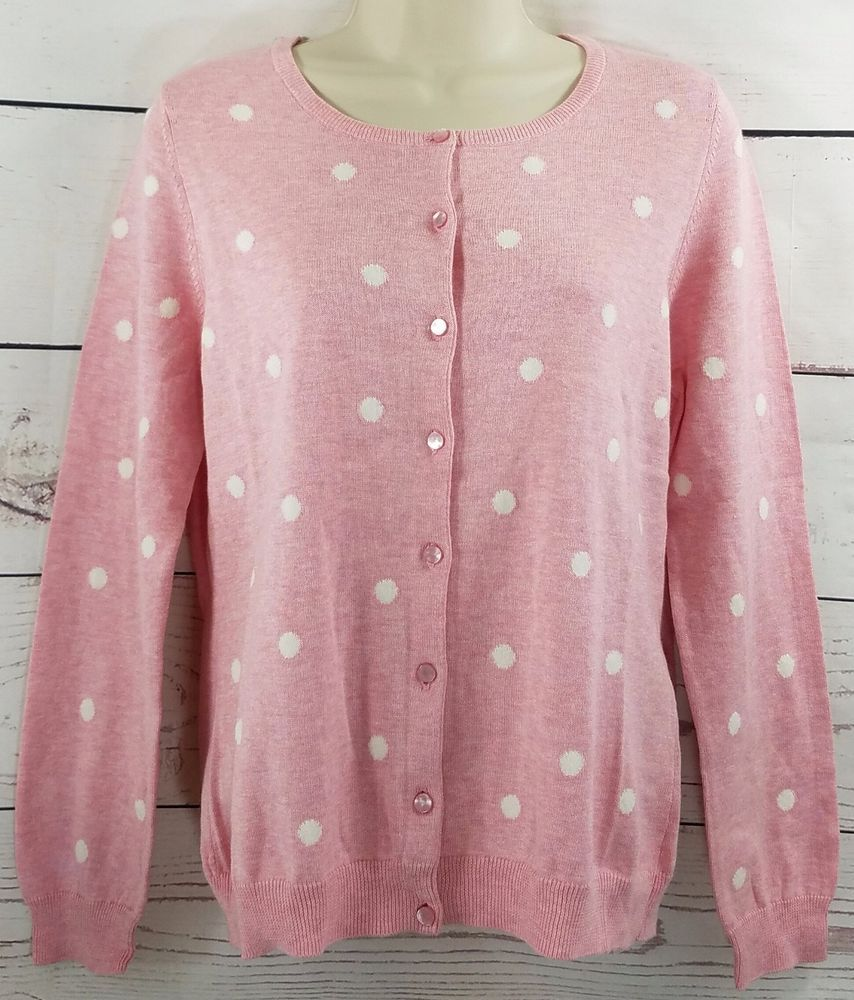Talbots Pink White Polka Dot Pima Cotton Cardigan Sweater Size: PM ...