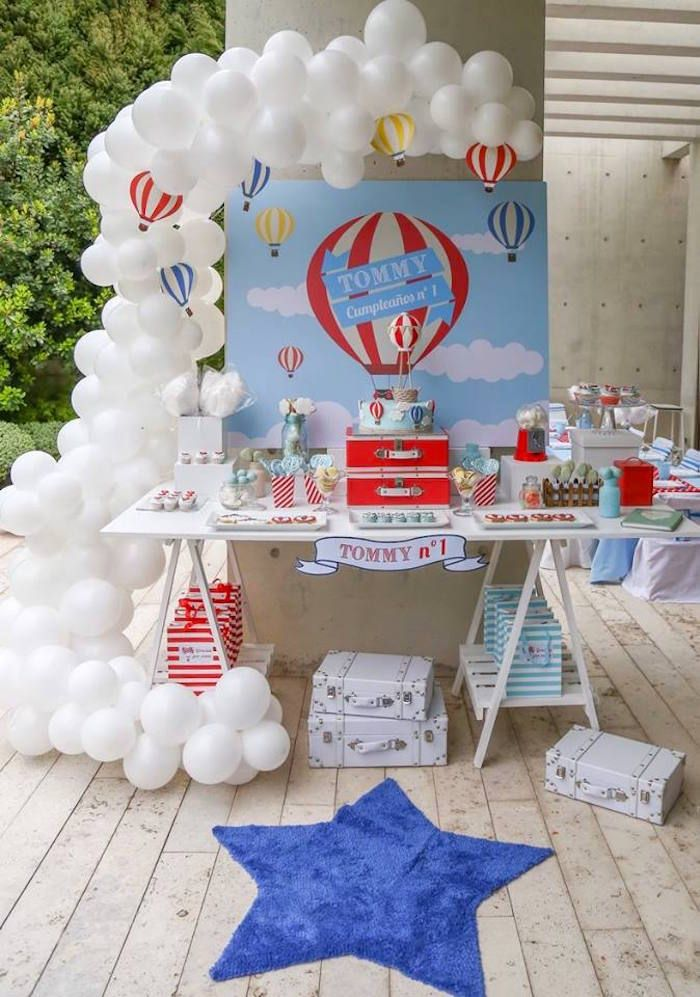Sweet Table from a Hot Air Balloon Birthday Party via Kara's Party Ideas | KarasPartyIdeas.com (14)