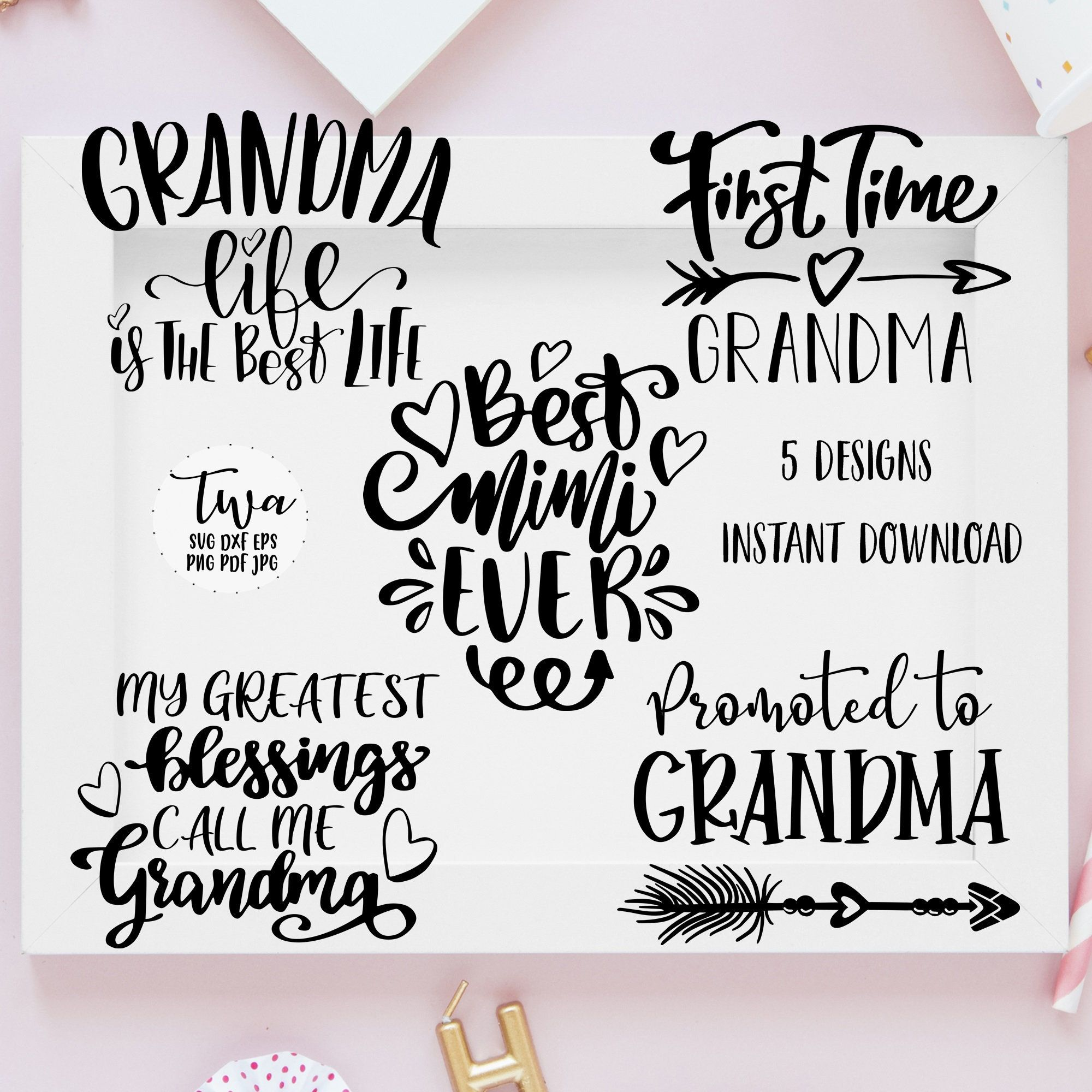 Grandma Svg Bundle 5 Quotes Download Best Mim Svg Grandma Etsy Svg Quotes House Warming Gifts Happy Easter Printable