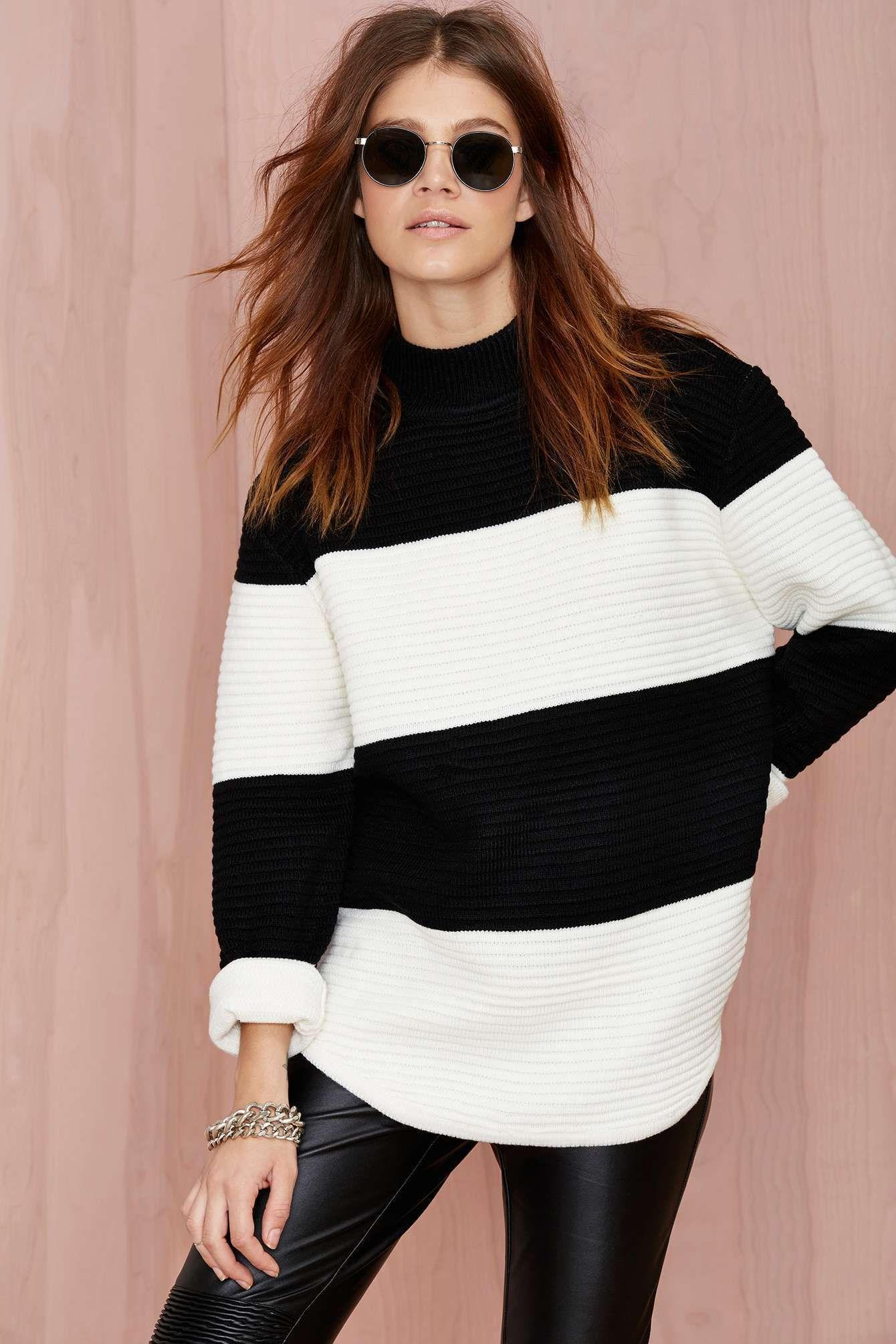 black   white striped. UNIF Bobbie Striped Sweater ... 4fcb0fbbc