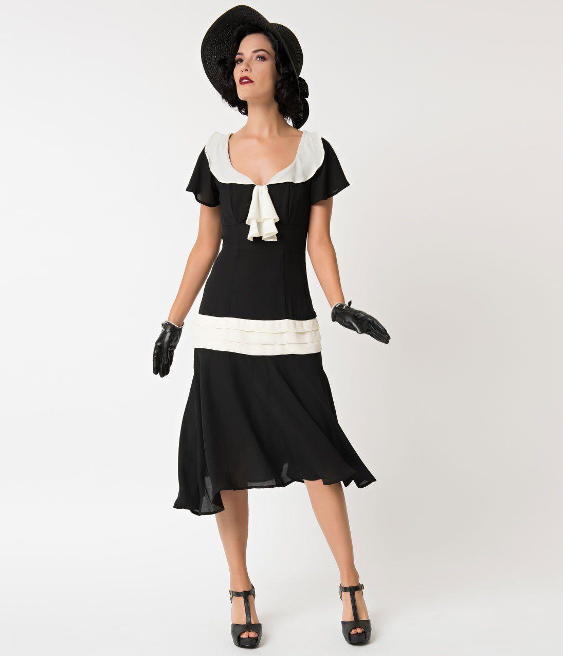 676550b2762 1920s Black   Cream Wilshire Flapper Day Dress