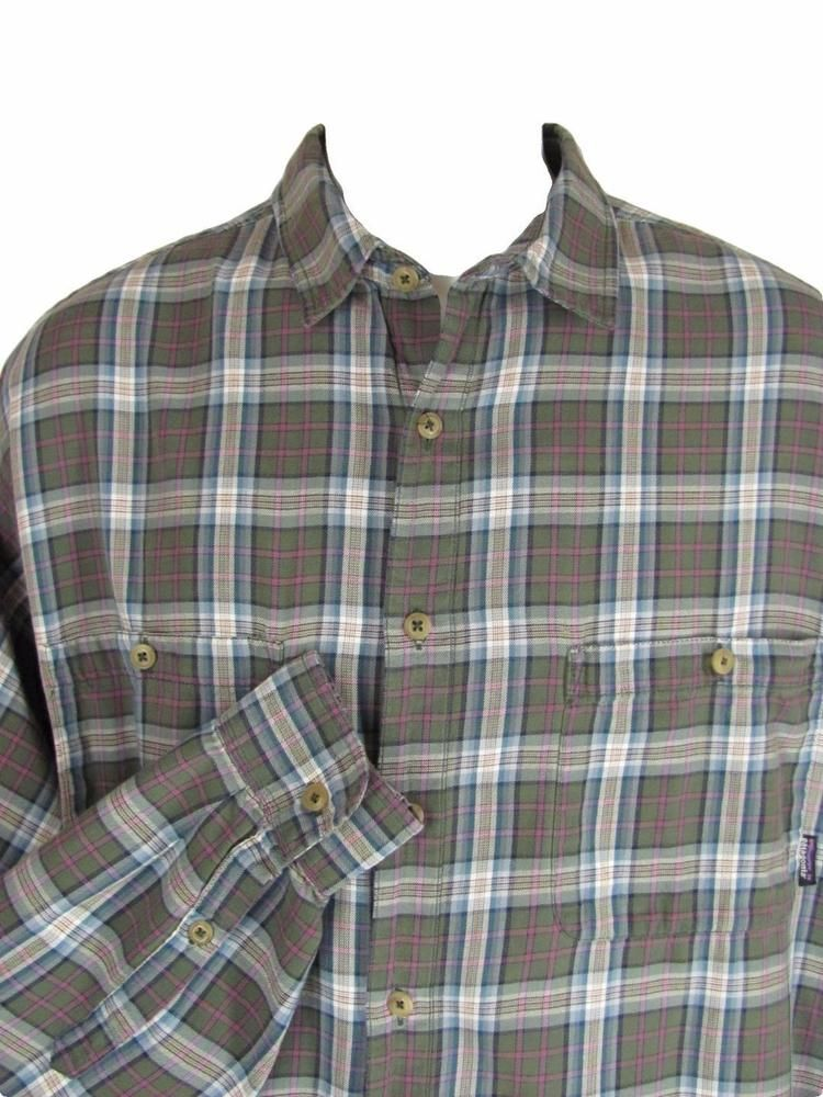 Patagonia Shirt Medium Mens Long Sleeve Gray Plaid Button Front #Patagonia #ButtonFront