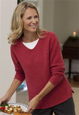 Just found this V Neck Pullover For Women - V-neck Cotton-Blend ...