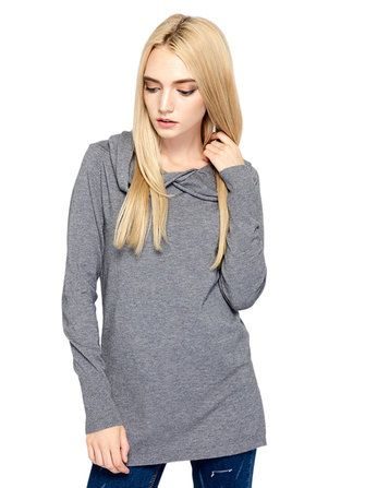Casual Women Solid Split Irregular Hooded Pullover Knitted Sweater