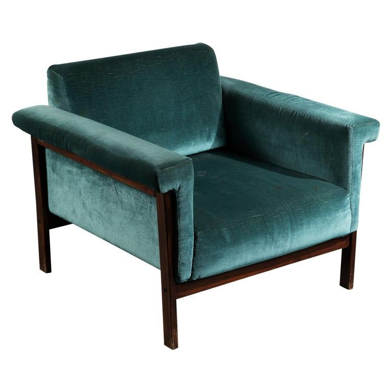 Ettore Sottsass Rosewood And Teal Fabric Canada Armchair For Poltronova 1958 In 2020 Armchair Mid Century Modern Fabric Vintage Lounge Chair