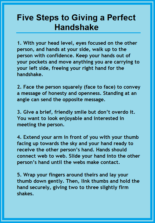 My five steps to giving a perfect handshake to make a great first ...
